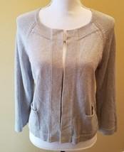 Talbots Cardigan Sweater Linen Blend Metallic Silver Glam Glitter Knit Top M - $21.49