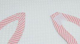EllieO Seersucker Bib And Burp Cloth Set White With Pink Striped Trim image 3