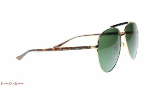 4b1ddf0d14e Gucci Men s Aviator Sunglasses GG0014 006 Gold Havana GreenPolarized Lens  60mm