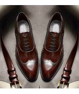 Bespoke Handmade Brown Ankle Leather Shoes, Dress Lace Up Shoes Men's - $139.00+