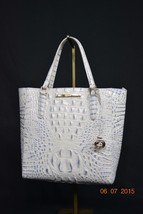 NWT! Brahmin Leather Harrison Carryall in Stonewash Melbourne.White/Blue Accents - $219.00