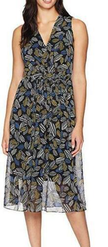 Anne Klein Dress Geometric Sleeveless Belt Multicolor Sz 12 NEW NWT