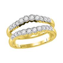14kt Yellow Gold Womens Round Diamond Wrap Ring Guard Enhancer Wedding Band - $859.00