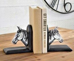 """Horse Head Set of Bookends 5.1""""- Dark Brown on Brown Bases Library Book Gift"""