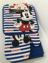 Disney Oven Mitt towel 3 piece Kitchen Set Mickey Mouse Strips USA BLUE - $15.67
