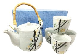 Ebros Japanese Design Yellow Cherry Blossom Sakura Blossoms Ceramic Tea Pot and  - $27.67