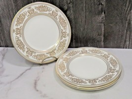 """Set of 4 Wedgwood Gold Columbia White 8 1/8"""" Salad Lunch Plates - $54.45"""