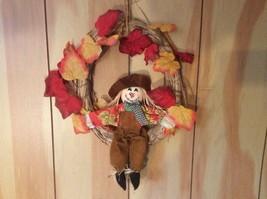 Autumn Fall Harvest Scarecrow Door Wreath - $7.91