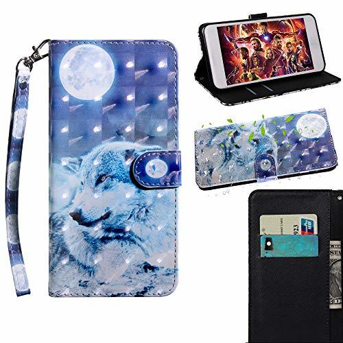 XYX Wallet Phone Case for Motorola Moto E5 Play,[Wrist Strap] Painted Design Pu