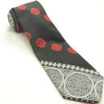 VINTAGE WIDE WEMBLEY 56L Red Black Charcoal Light Gray Bold Mens Neck Tie - $59.39