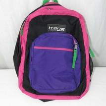 Trans Jansport Bright Multi Colored Backpack Black Neon Pink Purple - $22.24