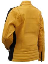 Womens The Bride Kill Bill Uma Thurman Biker Yellow Leather Jacket image 4