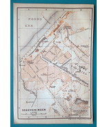 "1905 BAEDEKER MAP - Holland Scheveningen City Town Plan  4"" x 6"" (10 x 1... - $6.75"
