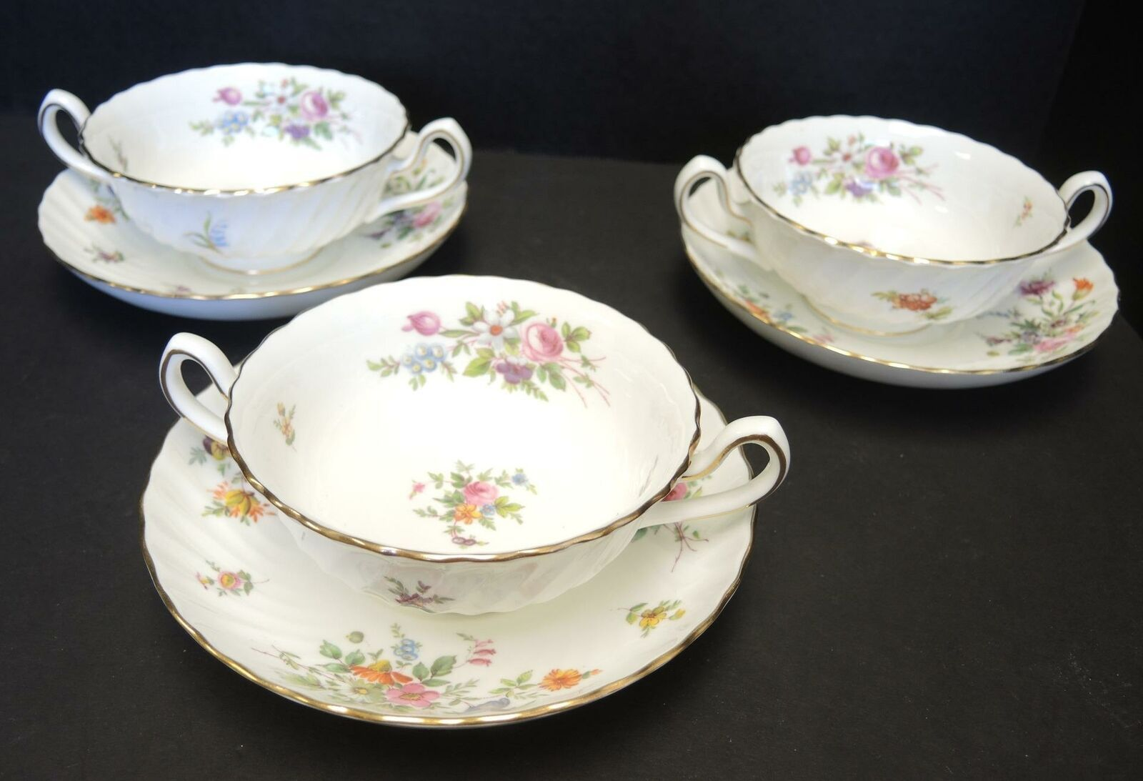 Primary image for Three  Minton Cream Soup Sets - Marlow Pattern