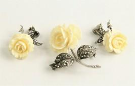 1964 ESTATE VINTAGE Jewelry GERMAN STERLING MARCASITE FLOWER BROOCH & EA... - $150.00