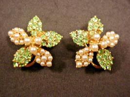 BSK Earrings Flower Clip On Green Rhinestones & faux Pearls BEAUTIFUL - $22.28