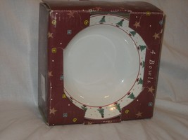 4 White Christmas 1996 Bowl-Santa Style Stoneware Bowls Made In Indonesia - $13.06
