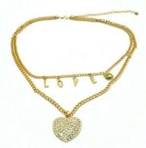 Clear Rhinestone Heart LOVE Letter Multi-Strand Gold Tone Necklace - $19.79