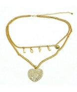 Clear Rhinestone Heart LOVE Letter Multi-Strand Gold Tone Necklace - $19.79