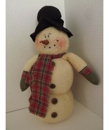 "Honey & Me 13"" Tall Plush Snowman Black Top Hat Fleece Body Plaid Scarf ... - $22.22"