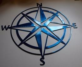 "Nautical Compass Rose 30"" Wall Art Decor Metallic Blue - $67.99"