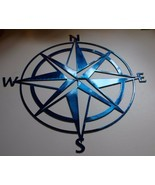 "Nautical COMPASS ROSE 30"" WALL ART DECOR Metallic Blue - £49.56 GBP"