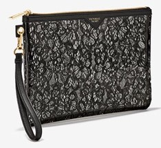 Victoria's Secret Clear Black Lacy Little Bag Wristlet Floral Lace Print Zip Up - $14.71