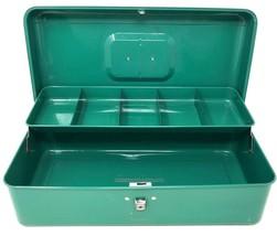 Vintage Mid Century TEAL GREEN Metal Tool Fishing Box w/Tray MCM Sears 1... - $44.99
