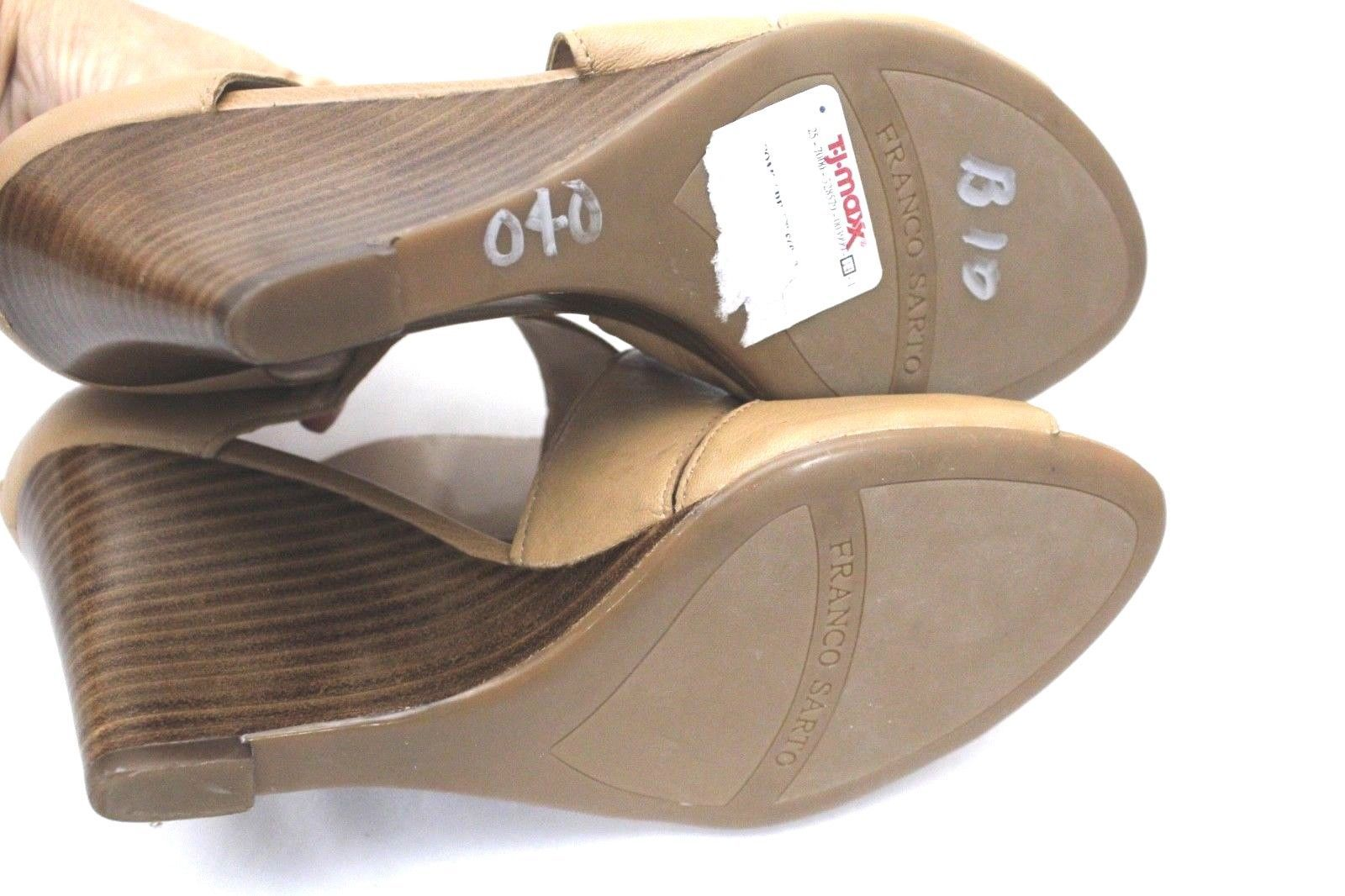 Neutral Leather Shoes Franco Sarto Giseppe Tan Caramel Wedge Sandals Women's 8 M
