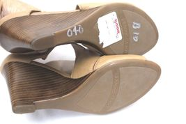 Neutral Leather Shoes Franco Sarto Giseppe Tan Caramel Wedge Sandals Women's 8 M image 4