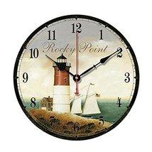 "George Jimmy 10"" Retro Unique Lighthouse Wall Clock Decor Silence Hangin... - $39.84"