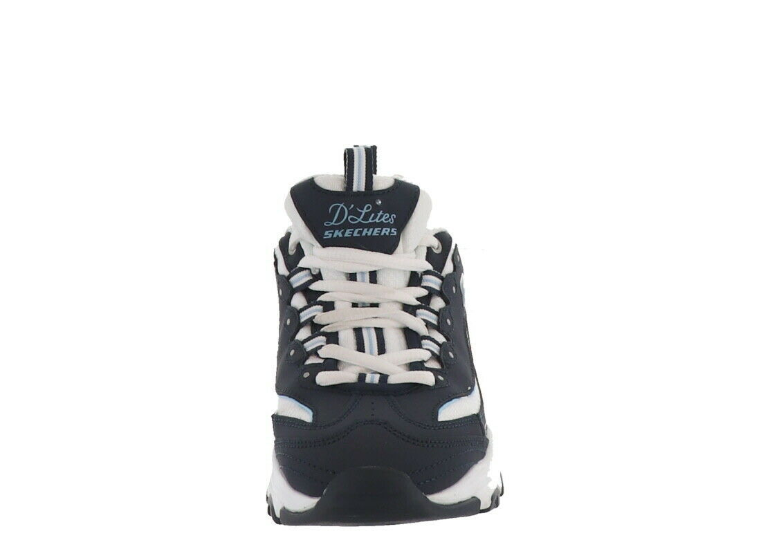 Skechers D'Lites Lace-Up Padded Sneakers Biggest Fan Navy 6M NEW A349783