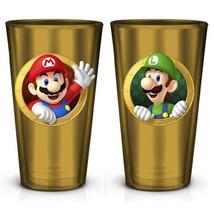 Super Mario Brothers Mario and Luigi Images 16 oz. Gold Pint Glass NEW U... - $11.64