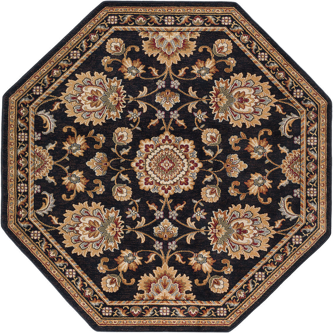Octagon Traditional Oriental Persian Black Area Rug **FREE SHIPPING**