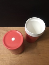 Vintage 60s set of 2 Coral NFC Insulated Tumblers image 3