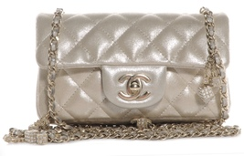 AUTH CHANEL LIMITED EDITION CRYSTAL DICE GOLD IRIDESCENT CALFSKIN MINI FLAP BAG