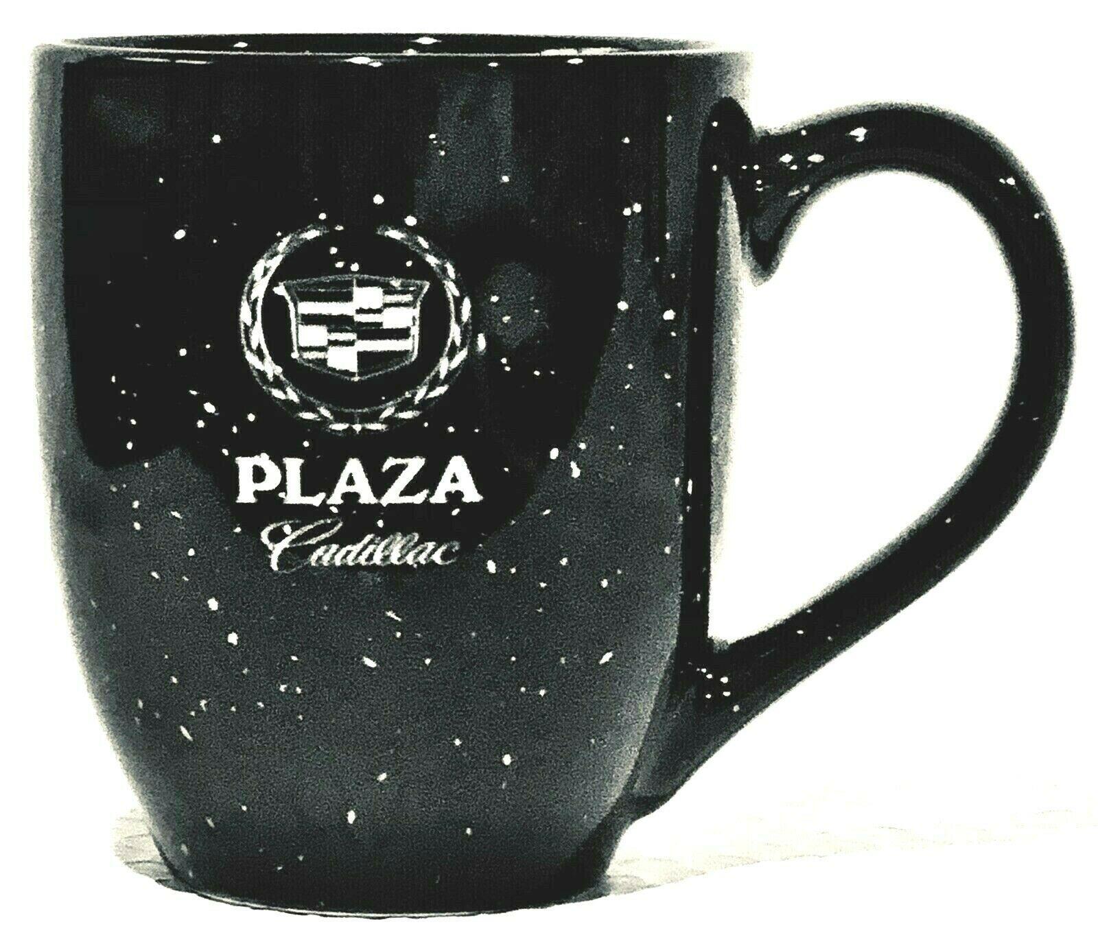 CADILLAC Large Coffee Cup Mug 16 oz PLAZA Cadillac Black Speckled - $19.99