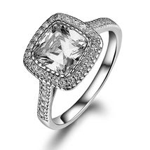 Solid 18k White Gold Halo Cushion Cut Swarovski Diamond Womens Engagemen... - $569.99