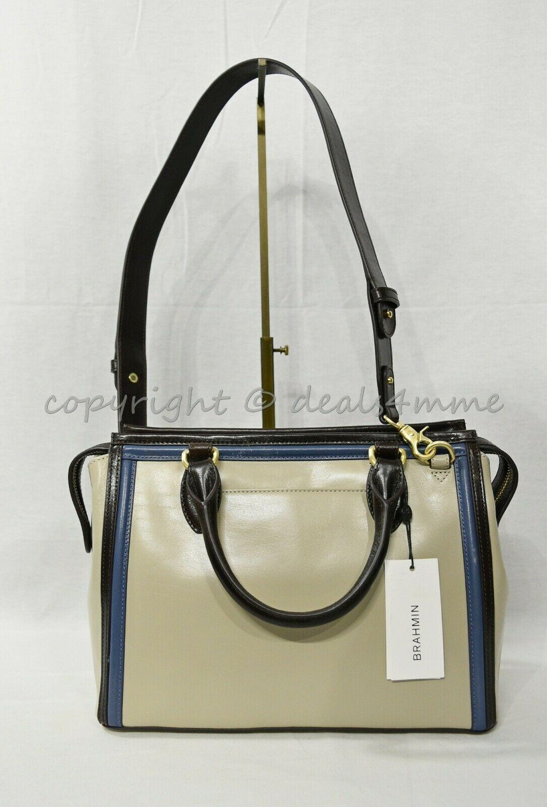 NWT Brahmin Schooner Smooth Leather Satchel/Shoulder Bag in Sand Westport image 8