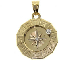 18K YELLOW GOLD ZODIAC SIGN ROUND 22mm DIAMOND PENDANT WIND COMPASS ZODIACAL image 1