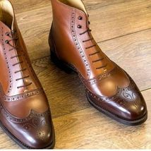 Handmade Men's Brown Tan Shaded Wing Tip Brogues Style High Ankle Lace Up Le image 2