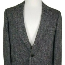 Harris Tweed Mens Sport Coat 42 Reg Gray Black Herringbone Plaid Scottis... - $43.52