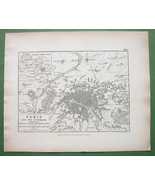 1848 Fine Quality Map - FRANCE Paris & Environs + Battle of 1814 Napoleon - $18.90