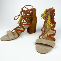 MARC FISHER  Brown Leather Two Tone Strappy Sandal With Yellow Tassel 8M - $29.70