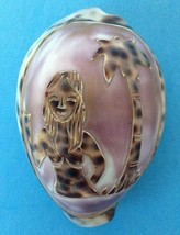 """Cameo Tiger Cowrie Sea Shell Carved Nude Topless Hula Girl Palm Tree 2.75"""" - $23.95"""