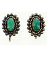 Old Pawn Navajo Sterling  Green Turquoise Rope Cab Scrw Back Earrings Pr... - $65.69
