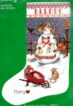 Candamar Snowlady Snow Cats Merry Christmas Cross Stitch Stocking Kit 50973 - $42.95