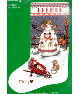 Candamar Snowlady Snow Cats Merry Christmas Cross Stitch Stocking Kit 50973 - $42.95