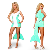 Blue Dolphin Shark Sexy Women Dress Halloween Party Cosplay Costume - $25.88