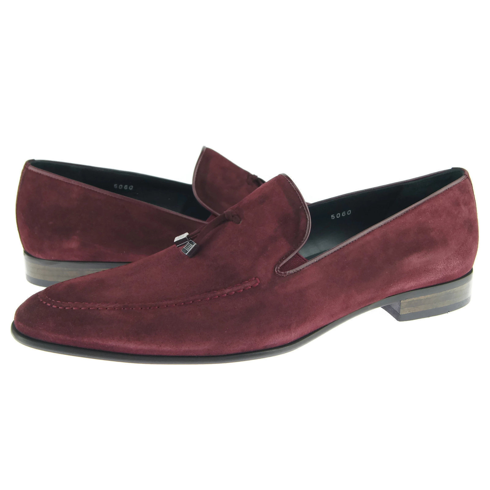 Purple Color Pointed Apron Toe Suede Leather Tassel Loafer Slip Ons Men Shoes